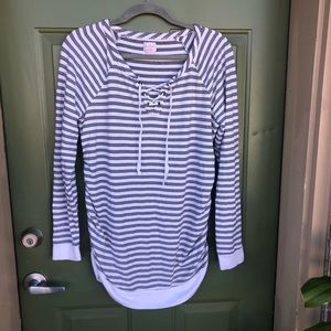 Long sleeve Striped Maternity Top